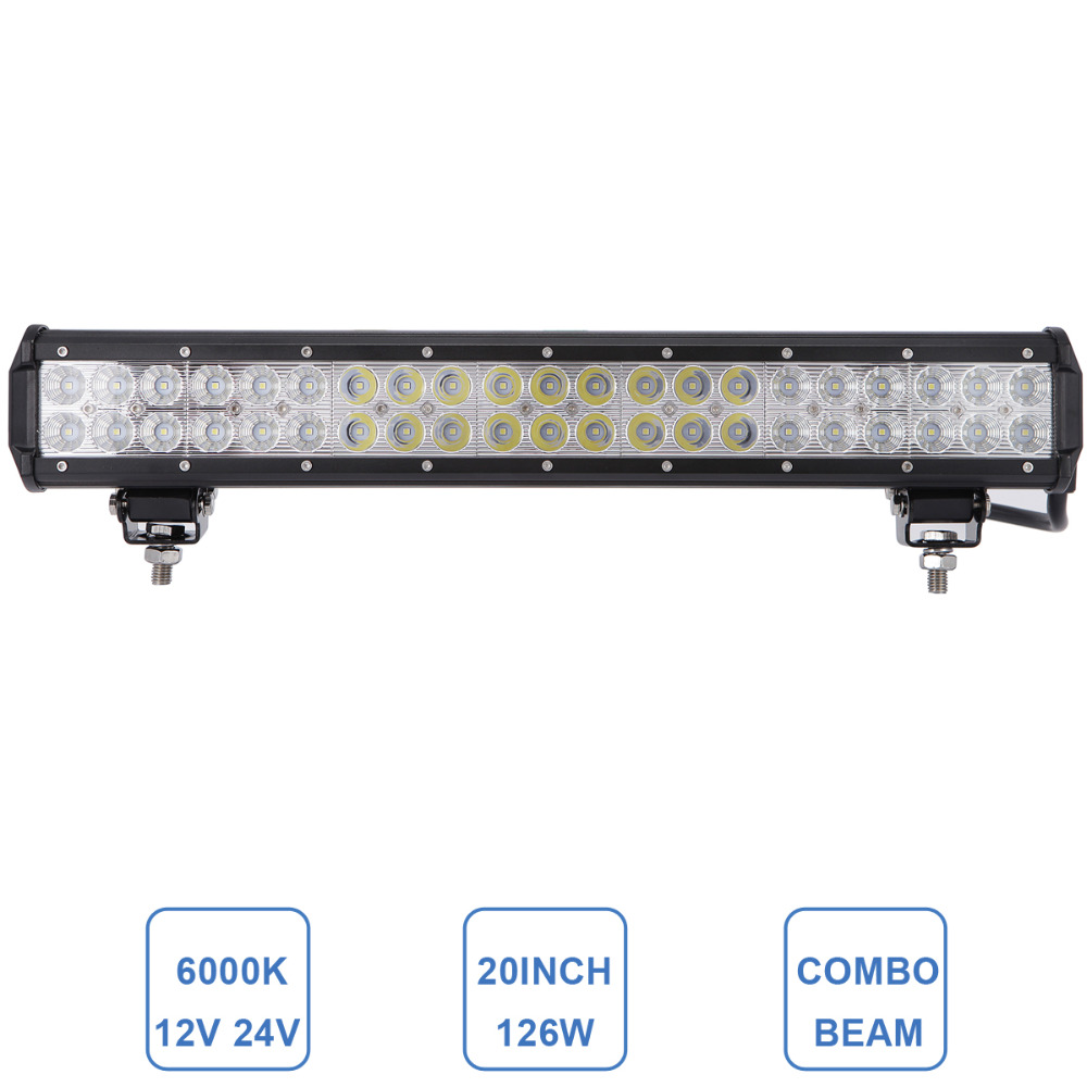 126W 20'' Offroad LED Light Bar Car Auto 4WD 4x4 Truck SUV ATV AWD Trailer Boat Camper RZR UTE 12V 24V Driving Headlight Lamp