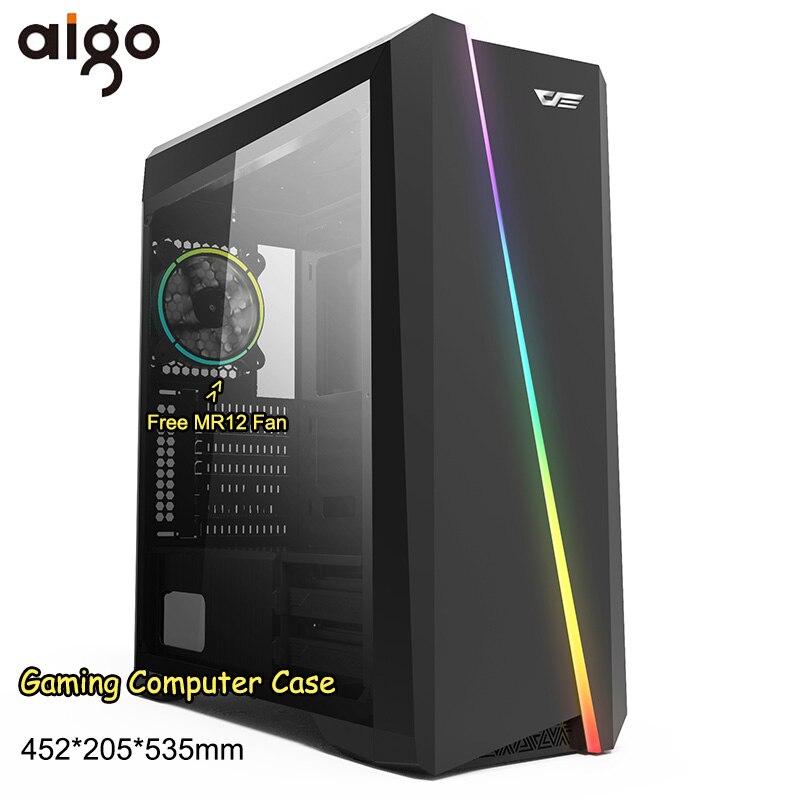 Aigo PC Computer Case Chassis LED Cases Tower Acrylic Window Mini Desktop Computer Support CPU Cooler Fan Gabinete Gamer Case
