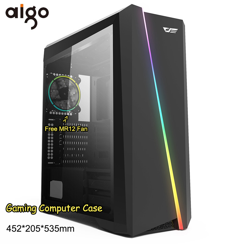 Aigo PC Computer Case Chassis LED Cases Tower Acrylic Window Mini Desktop Computer Support CPU Cooler Fan Gabinete gamer Case-in Computer Cases & Towers from Computer & Office