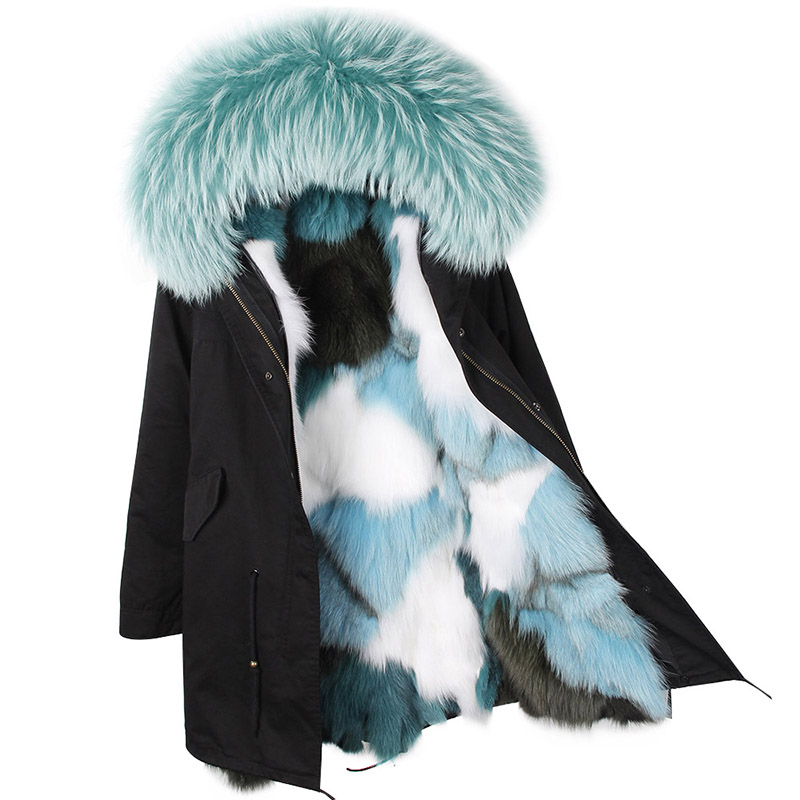 Women New Fashion Long Luxurious Real Fox fur lining Military Parka  Large Raccoon fur Hooded Coat Outwear Winter Jacket 2017 winter new clothes to overcome the coat of women in the long reed rabbit hair fur fur coat fox raccoon fur collar