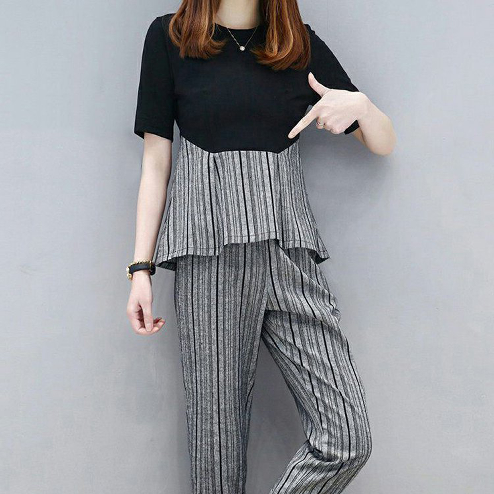 Tracksuit for Women Outfits 2 Piece Set Plus Size Striped Top and Pants Suits Co Ord Set 2019 Summer Clothes Black Sportswear in Women 39 s Sets from Women 39 s Clothing