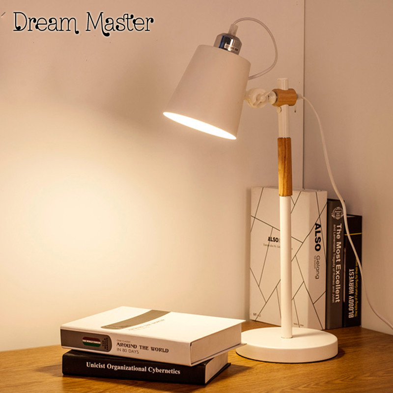 Nordic bedroom bedside table lamp warm fashion study desk lamp LED eye protection lamp Postage free