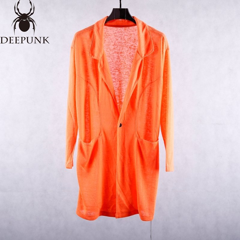 male new style spring long sleeve long jacket orange black loose casual tide trench coat men's cotton fabric high quality blazer