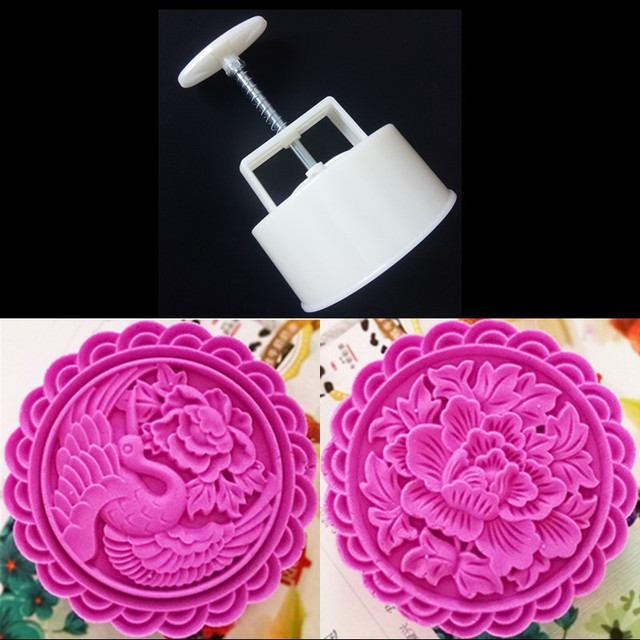 461600554 250 Grams Moon Cake Mold Plastic Mooncake Stamps Round Flower 10 CM Hand  Press Moon Cake Plunger DIY Kitchen Baking Pastry Tools