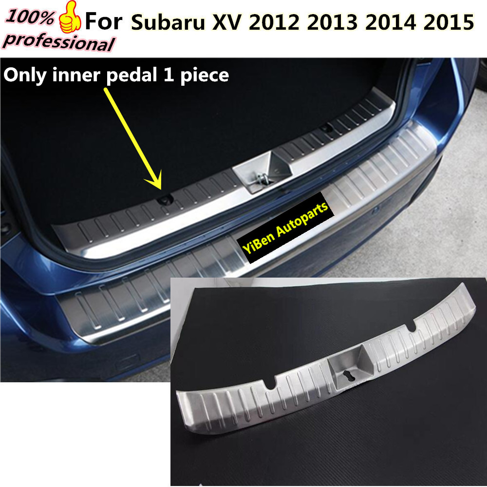 Car body inner internal Rear Bumper trim styling Stainless Steel plate pedal lamp frame 1pcs For subaru XV 2012 2013 2014 2015  high quality car styling cover detector abs chromium tail back rear license frame plate trim strips 1pcs for su6aru outback 2015