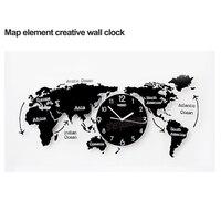 Карта мира большие настенные часы современный дизайн 3D наклейки Подвесные часы немой уникальный настенные красивые часы домашний декор