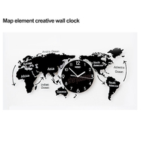 World Map Large Wall   Clock   Modern Design 3D Stickers Hanging   Clock   Mute Unique Watch Wall   Clocks   Decoration Home Decor