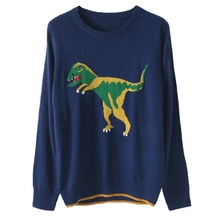 high quality 2016 new autumn fashion runway sweater women's blue color knitted dinosaur loose oversize basic jumper sweater