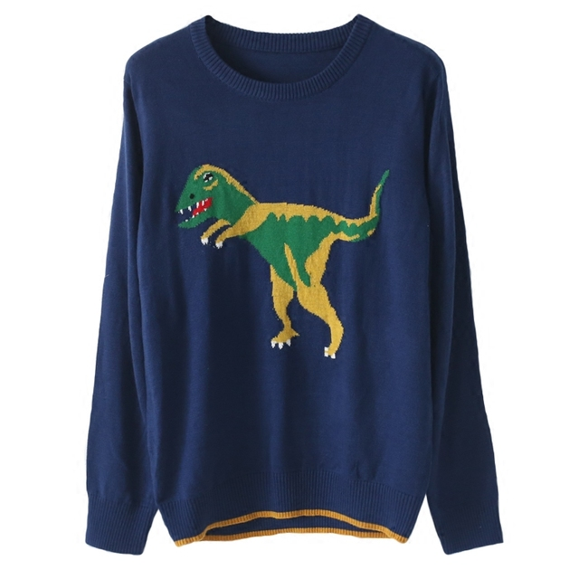 women high quality runway sweater jumper autumn winter fashion dinosaur sweaters oversized basic pullover knitwear blue color