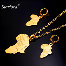 Starlord African Jewelry Set Pendant Necklace Drop Earrings Women Gift Yellow Gold Color African Map Ethiopian