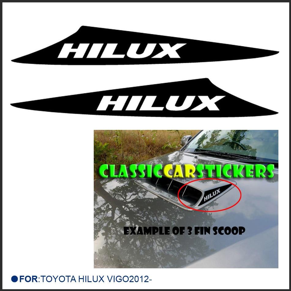 Customize for toyota hilux vigo 2012 car accessories modified decals 2pc bonnet scoop d4d turbo sticker with kk sign vinyls