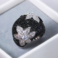2018 New Flower rings for women Gold color Black rings Made with aaa Cubic Zirconia Pave Setting Contrast Fashion Ring cocktail