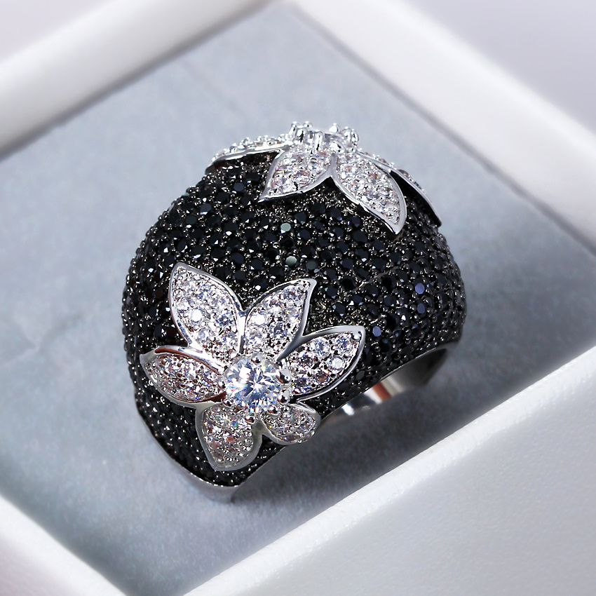 2018 New Flower rings for women Gold-color Black rings Made with aaa Cubic Zirconia Pave Setting Contrast Fashion Ring cocktail