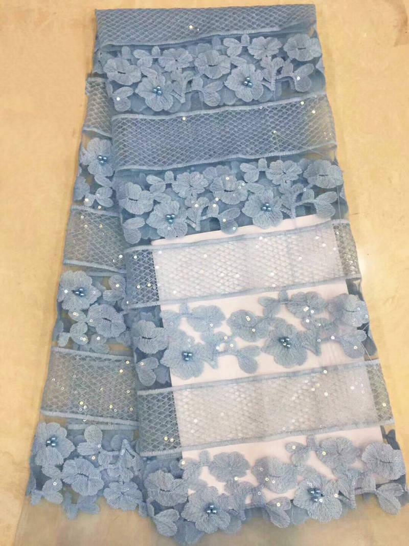 (5yards/pc) skyblue African tulle lace fabric delicate embroidered French lace fabric with sequins and beads for dress FZZ126(5yards/pc) skyblue African tulle lace fabric delicate embroidered French lace fabric with sequins and beads for dress FZZ126