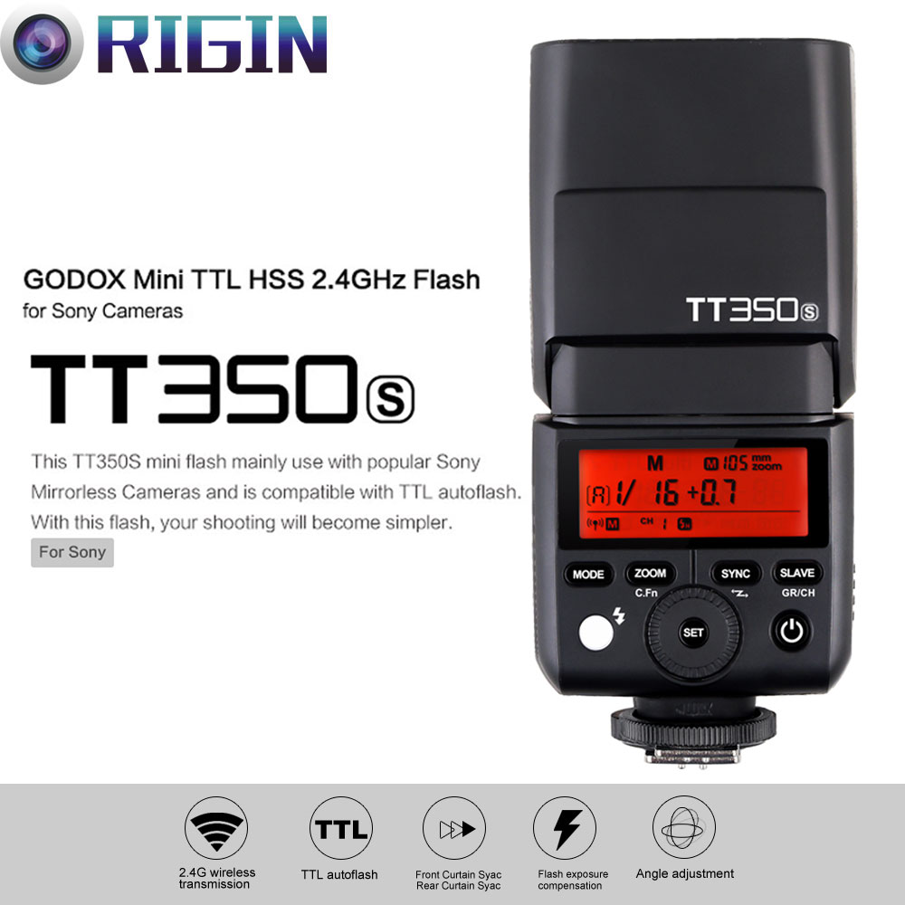 Godox Mini Thinklite TTL TT350S Camera Flash High Speed 1/8000s GN36 For Sony Digital Camera godox mini thinklite i ttl tt350n camera flash high speed 1 8000s gn36 for nikon digital camera