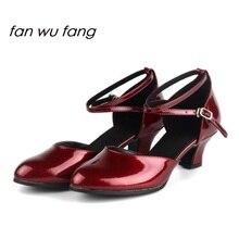 fan wu fang 2017 New Arrival PU Upper Burgundy Ballroom Latin Dance Shoes Tango Dancing Shoes Women Ladies Girls Heel 4cm 832