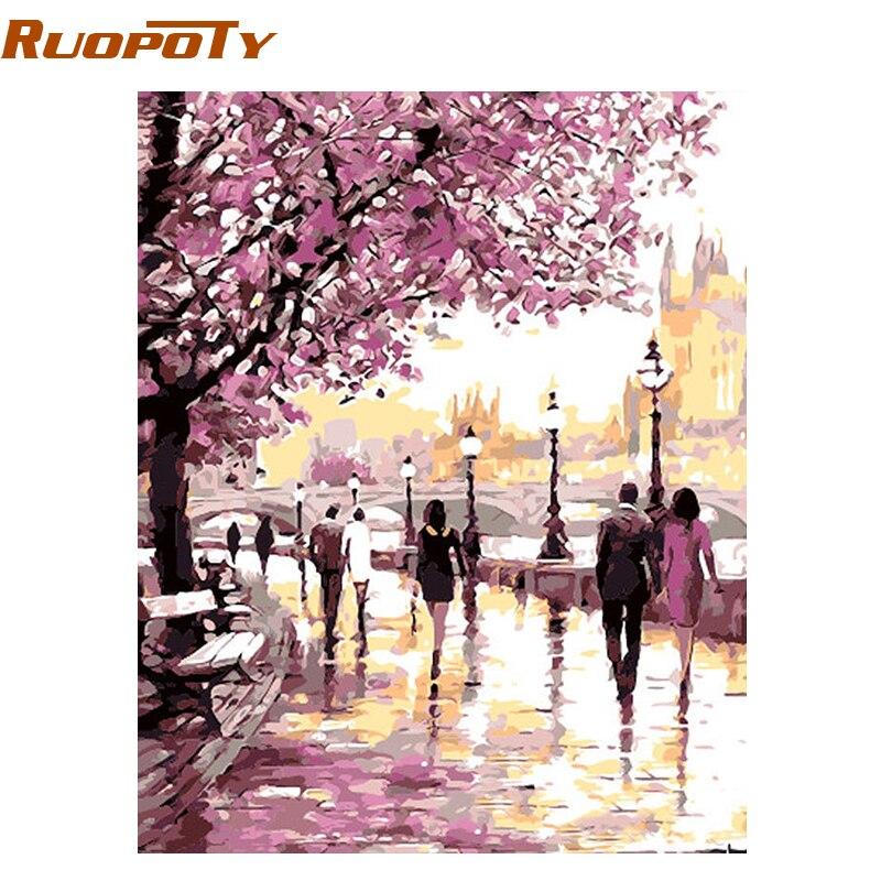 RUOPOTY Cherry Blossoms Strada Pittura A Olio di Diy Dai Corredi di Numeri Picture Wall Art Home Decor Pittura Acrilica Su Tela di Canapa Per opere d'arte