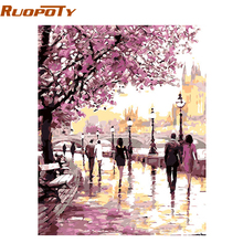 RUOPOTY Body Cherry Blossoms Highway Diy Oil Portray By Numbers Kits Wall Artwork Image House Decor Acrylic Paint On Canvas For Arts