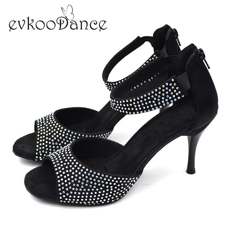 Newest Zapatos de baile latino Strass girls Diamond Latin Shoes 8 5cm heel Salsa latin dancing