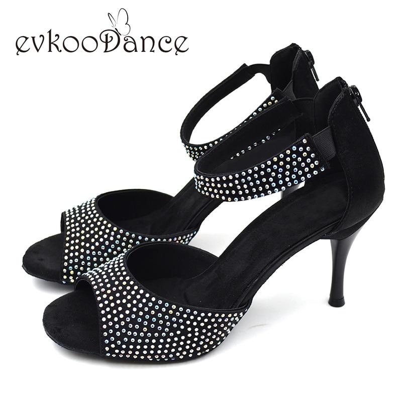 Nyeste Zapatos de baile latino Strass jenter Diamond Latin Shoes 8.5cm hæl Salsa latin danssko for kvinner NL006
