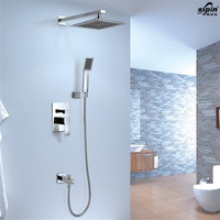 Brass Bath Faucet Mixer In Wall Three Functions Embedded Box Mixer Valve Shower Set With Spout