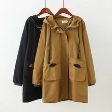 NXH plus size cotton trench coat windbreaker long coats oversize loosen women cl