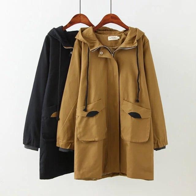 NXH Plus Size Cotton Trench Coat  Windbreaker  Long Coats Oversize Loosen Women Clothes 2018