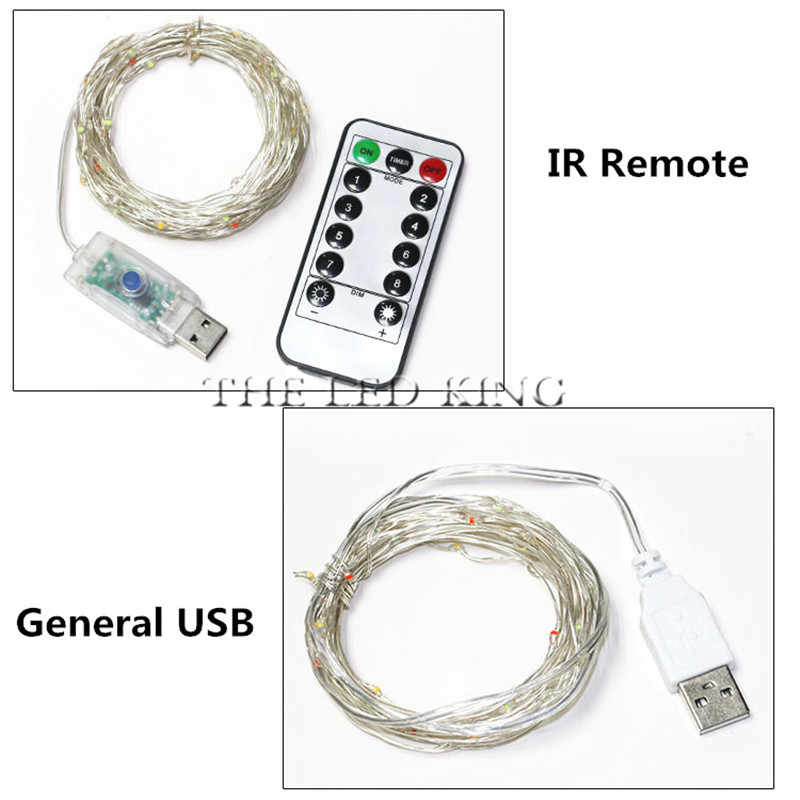New USB 10M 100LED Copper Wire IR Remote String Lights Indoor Outdoor Fairy Led Light for Xmas Garland Party Wedding