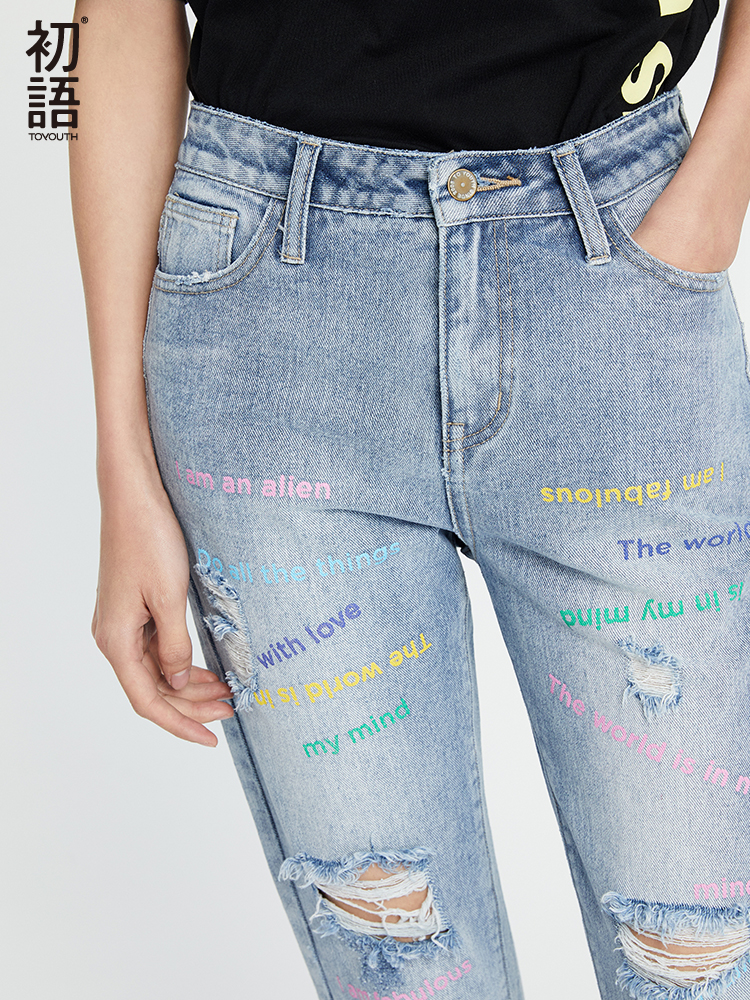 Toyouth Printed Boyfriend Hole Ripped   Jeans   Women Pants Cool Denim Straight   Jeans   For Girl High Waist Casual Pants Female   Jeans