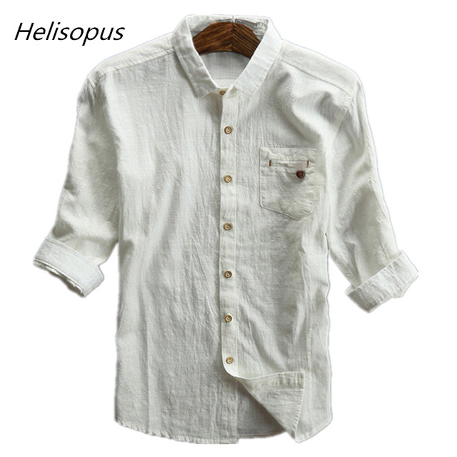 be36d1d7d52 Helisopus 2018 Summer Men Linen Cotton Shirt Half Sleeve Thin Grey Black  Shirts Asian Size Male Casual Vintage Shirts
