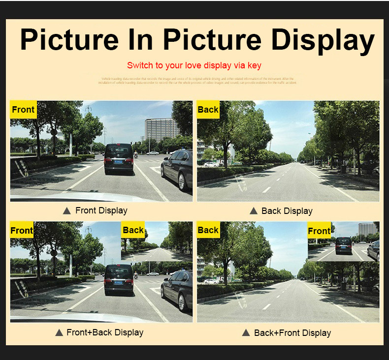 E-ACE Car Dvr Rearview Camera Mirror Auto Dashcam Video Recorder Automobile Full HD1080P Camcorder Dual Camera Lens Registrator 7