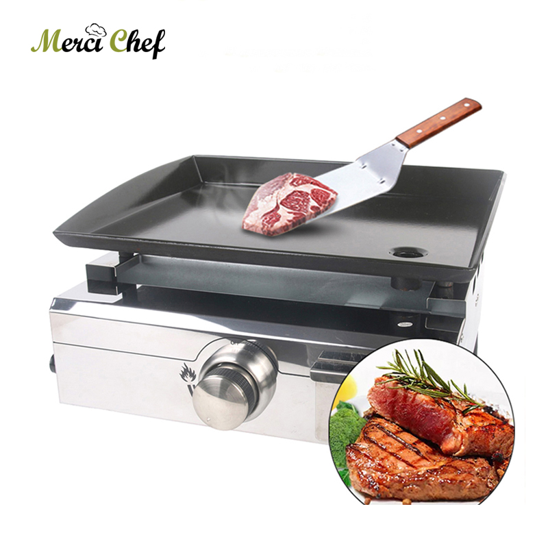 BBQ Grill BBQ Burner Stainless Steel Griddle Steak Meat Cooking Plate Outdoor Gas Barbecue Supplies For Commercial Steak Cooking