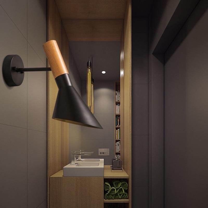 Nordique Classique Lampe Murale Design Blanc Noir Fer Abat Jour LED