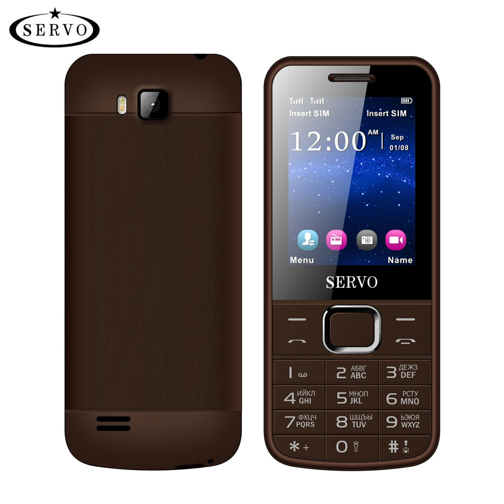 "Original Phone SERVO 225 2.4"" Dual SIM Cards Mobile Phones GPRS Vibration Outside FM Radio Bluetooth cellphone Russian keyboard"