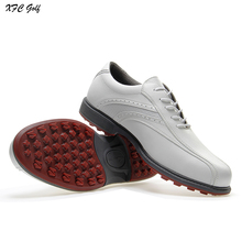 Nieuw binnen golfschoenen Heren schoenen synthetisch leer waterdichte zachte buitenzool voorzien van spijker zwart-witte sportschoenen
