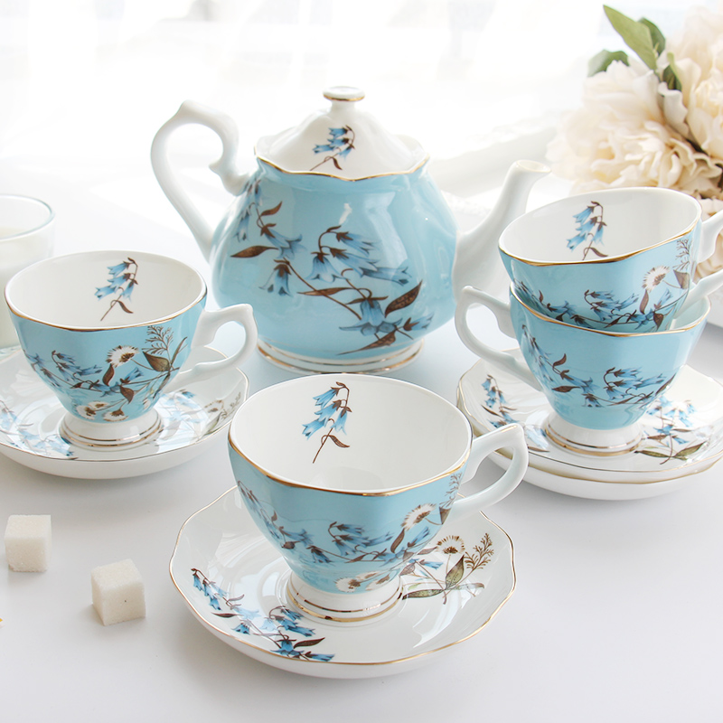 Coffee Tea Sets Bone China Porcelain Coffee Cup Set Creative Gift British Tea Cup Sets 1 Pot and 4 Coffee cups-in Teaware Sets from Home & Garden    3