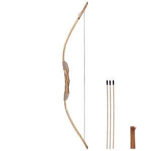 Image 2 - 良質強力な木製の木の弓 3 矢印と矢筒と子供のおもちゃ木製アーチェリー弓 DIY セット子供ギフト