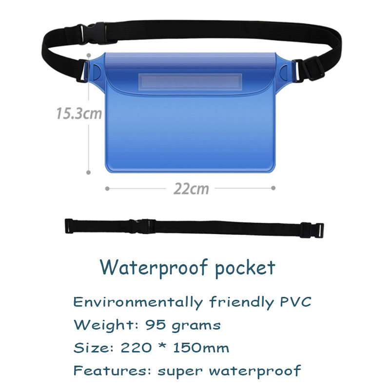 Waterproof sports bag PVC material Waterproof drift diving bag dry shoulder bag water bag Beach for iphone protection pocket B05 in Running Bags from Sports Entertainment