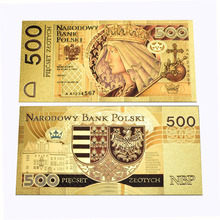 New Design 500 Poland Banknote Gold Foil plastic card Colorful printing for Collection and Gift