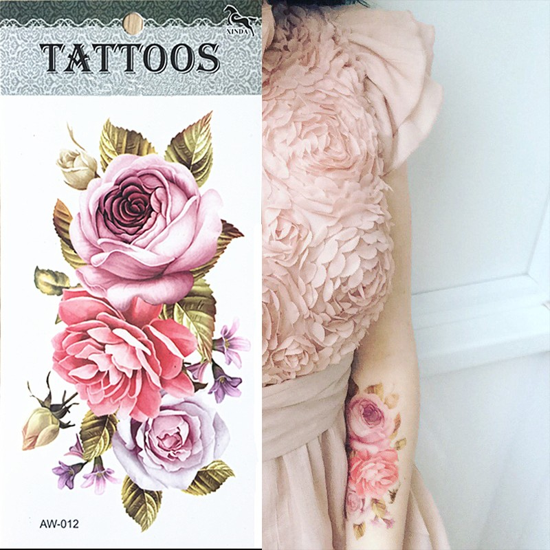 Hot-3D-tattoos-one-time-temporary-tattoos-Arm-flower-tattoo-waterproof-female-body-art-tattoo-model