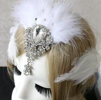 1set 3 Pcs Fashion Vintage Feather Dangle Rhinstone Hair Clip Feather Wedding Bridal Hair Accessory Set