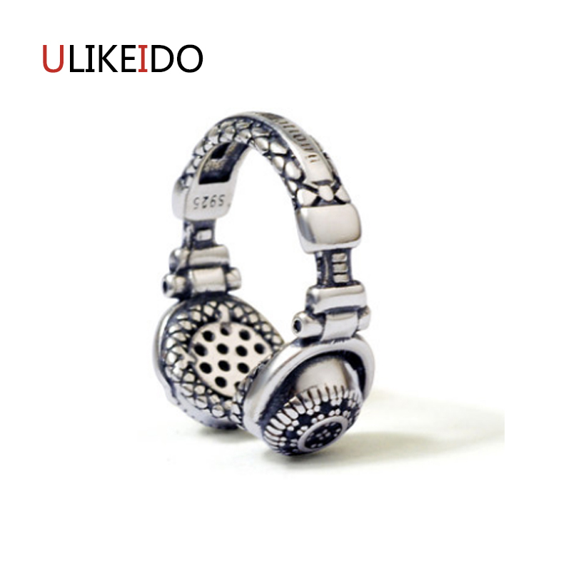 100% Pure 925 Sterling Silver Jewelry Wearing Headphones Rings Opening Punk Men Signet Ring For Women Christmas Gift 1023 punk style pure color hollow out ring for women