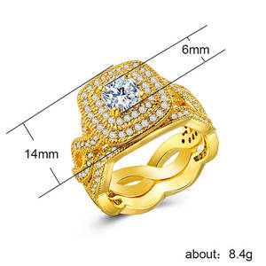 2pcs/Set Wave-Rings-Kit Jewellery Crystal-Ring Bague Engagement Wedding Gold-Color Female
