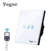 Yeger EU UK Standard Tactile Commutateur 3 Gang 1 Way Mur Light Touch Commutateur Switch Panel