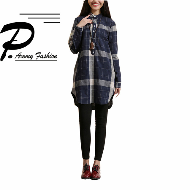 Women s Retro Oversized Cotton   Linen Checkered Blouse Ladies Autumn  Vintage Stand Long Sleeve Mid- 1440b0b9b83e