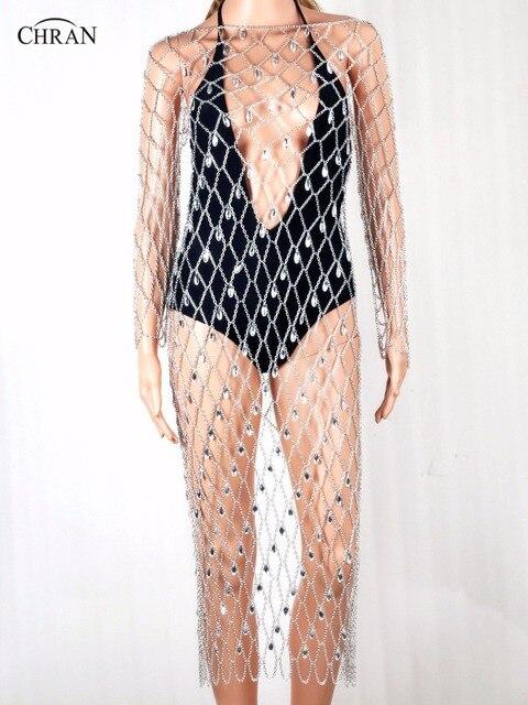 Chran Full Body Lingerie Sexy Showgirl Exotic Jewelry Bra Chain Tassel Dress harness Slave Body Chain Necklace Jewelry CRBJ721