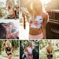Sexy High Neck Bikini Swimwear Women Swimsuit Brazilian Bikini Set Print Striped Halter Backless Beach Wear