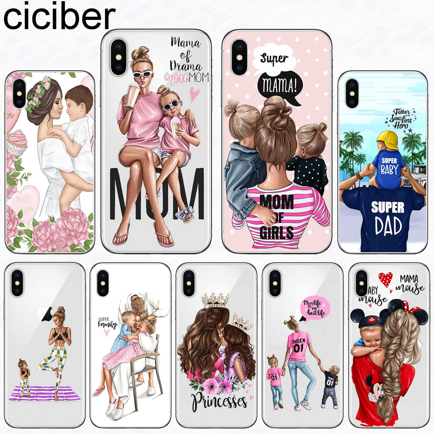 ciciber Super Mom Girl Phone Case for iphone 11 Pro XS Max X 5S SE Case for iphone XR 7 8 6 6S PLUS Cover Silicone Funda Coque
