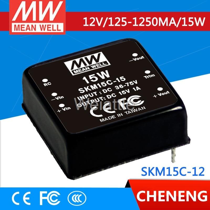 цена на MEAN WELL original SKM15C-12 12V 1250mA meanwell SKM15 12V 15W DC-DC Regulated Single Output Converter
