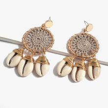 8Seasons New Bohemian Shell Handmade Round Dreamcatcher Hollow Out Drop Earrings For Women Party Straw Beach Jewelry